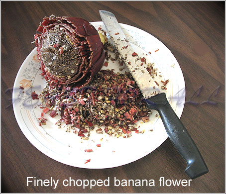 Cut banana flower