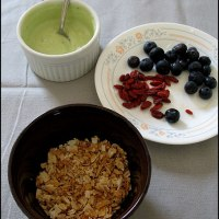 Coconut Almond Granola with Matcha Yogurt