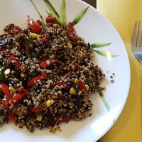 Spicy Tri Colored Quinoa with Beans and Corn